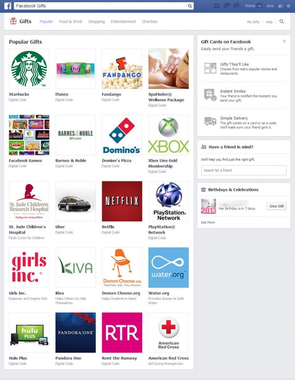 Popular Gifts Facebook